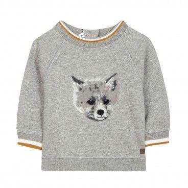 Boys Grey Fox Cotton Sweatshirt