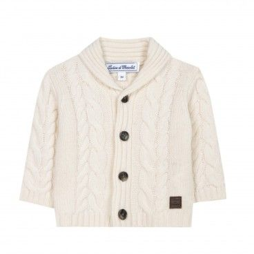 Ivory Knitted Wool Cardigan