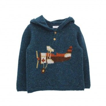Deep Blue Knitted Hooded Sweater