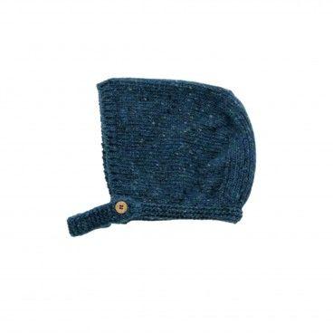 Deep Blue Knitted Wool Bonnet