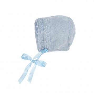 Pale Blue Knitted Cotton Bonnet