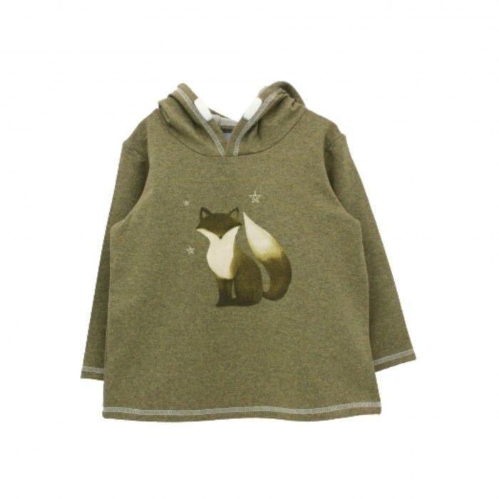 Green & Ivory Hooded Fox Sweat