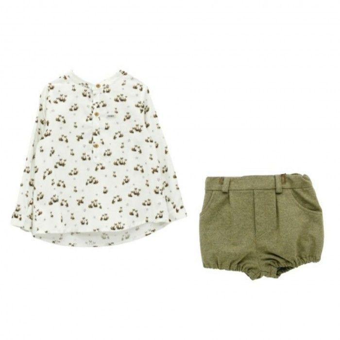 White & Green Fox Shorts Set