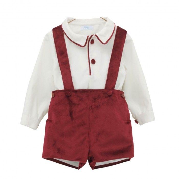 Boys Burgundy Red Shorts Set