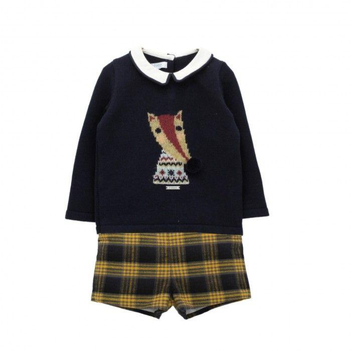 Navy & Mustard Check Shorts Set