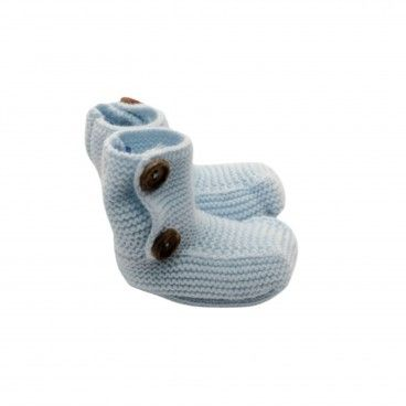 Baby Blue Knit Bootees
