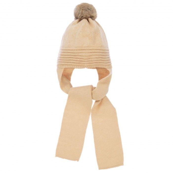 Beige Knit Hat & Scarf