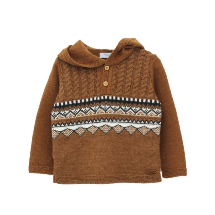 Camel Knitted Hooded Sweater