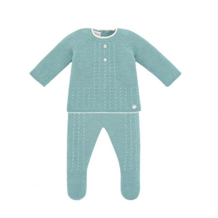 Sage Green Knitted Babygrow Set