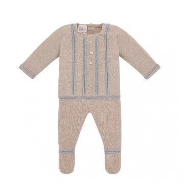 Light Brown & Blue Babygrow Set