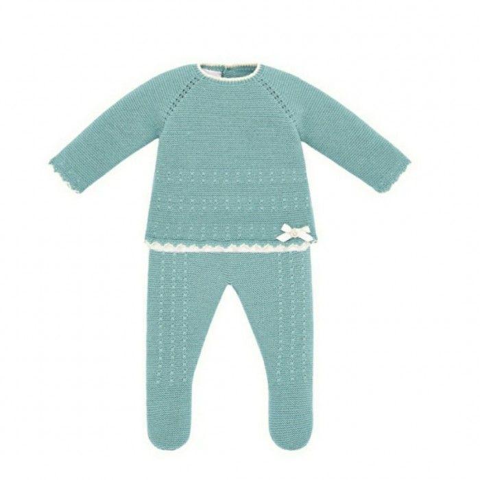 Sage Green Knitted 2 Piece Babygrow