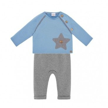 Confort Blue & Grey Trousers Set