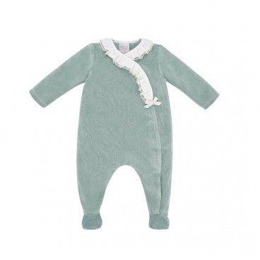 Baby Green Velour Babygrow