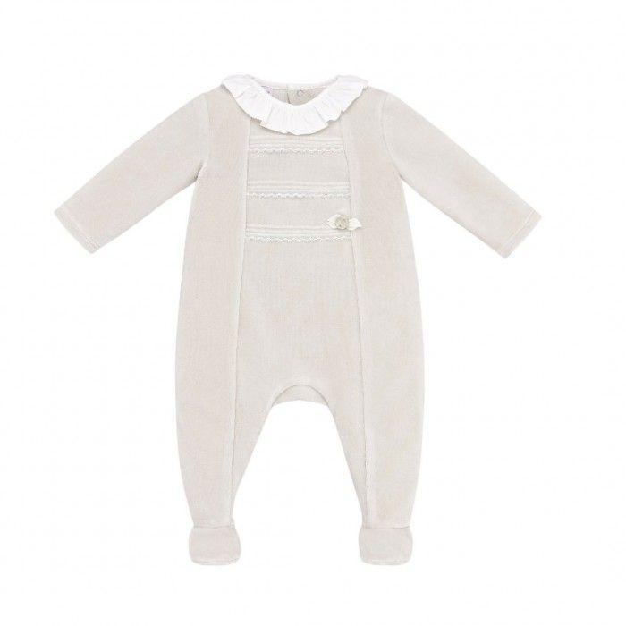 Baby Beige Velour Babygrow