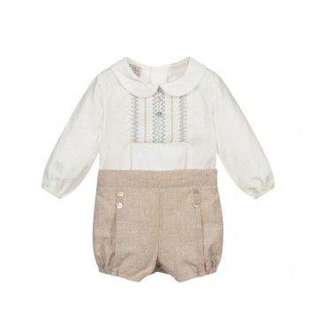 Baby Boys White & Beige Set