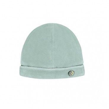 Green Velour Baby Hat