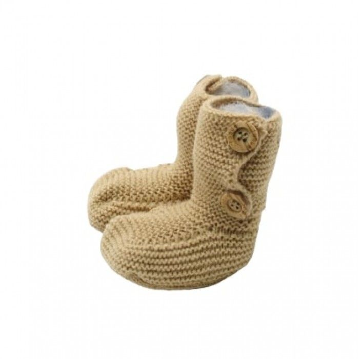 Baby Beige Knit Bootees