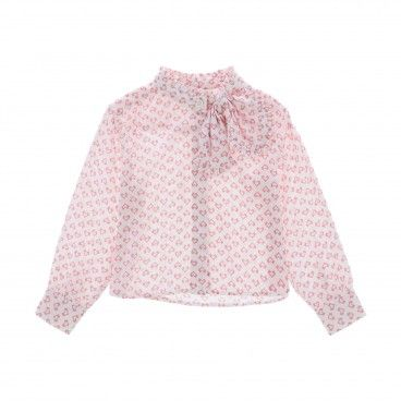 Girls Pink Bow Blouse