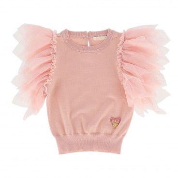 Girls Pink Blush Tulle Sweater