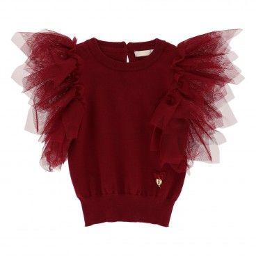 Girls Red Tibetan Tulle Sweater