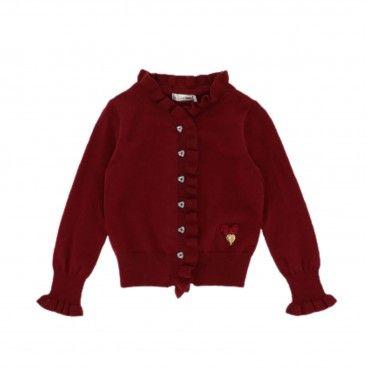Girls Tibetan Red Cardigan